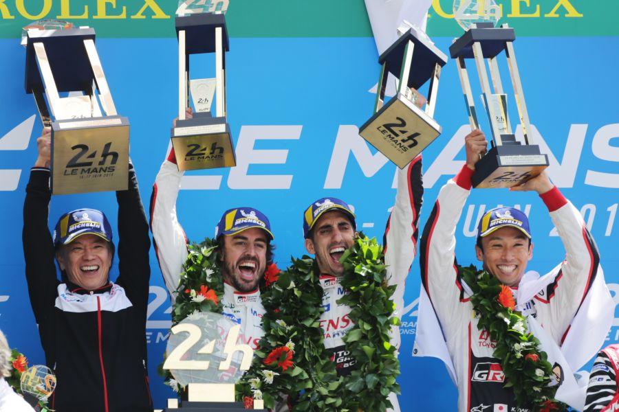 2018 Le Mans 24h winners: Fernando Alonso, Sebastien Buem, Kazuki Nakajima