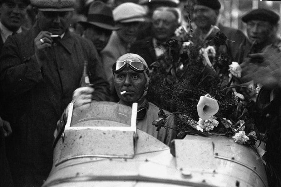 Achille Varzi after a sensational victory at 1933 Monaco Grand Prix