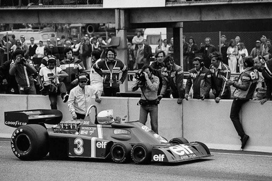 Jody Scheckter after his win at 1976 Swedish Grand Prix