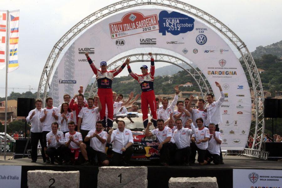 Mikko Hirvonen and Jarmo Lehtinen are celebrating victory at 2012 Rally Italia Sardegna