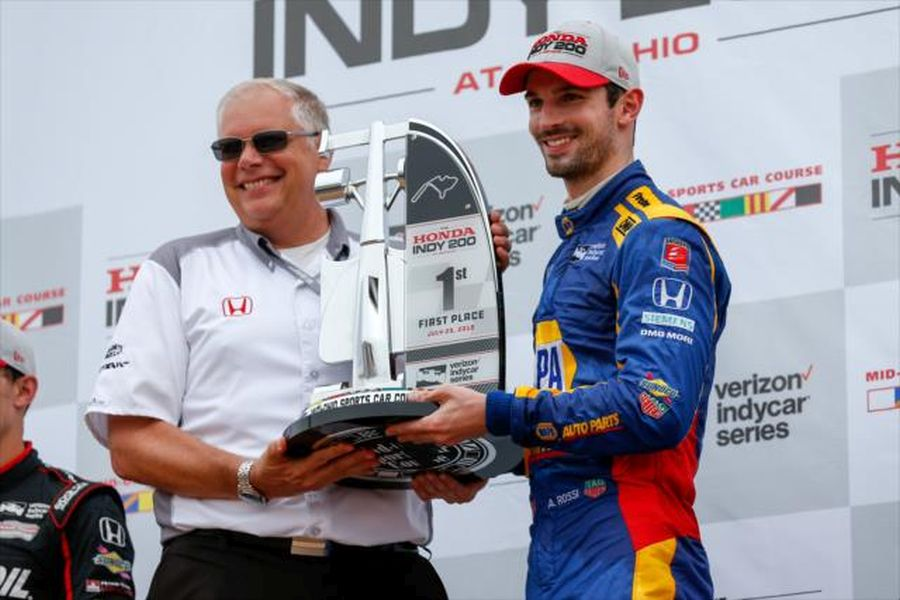 Pit stop strategy gamble makes Alexander Rossi to win at Mid-Ohio