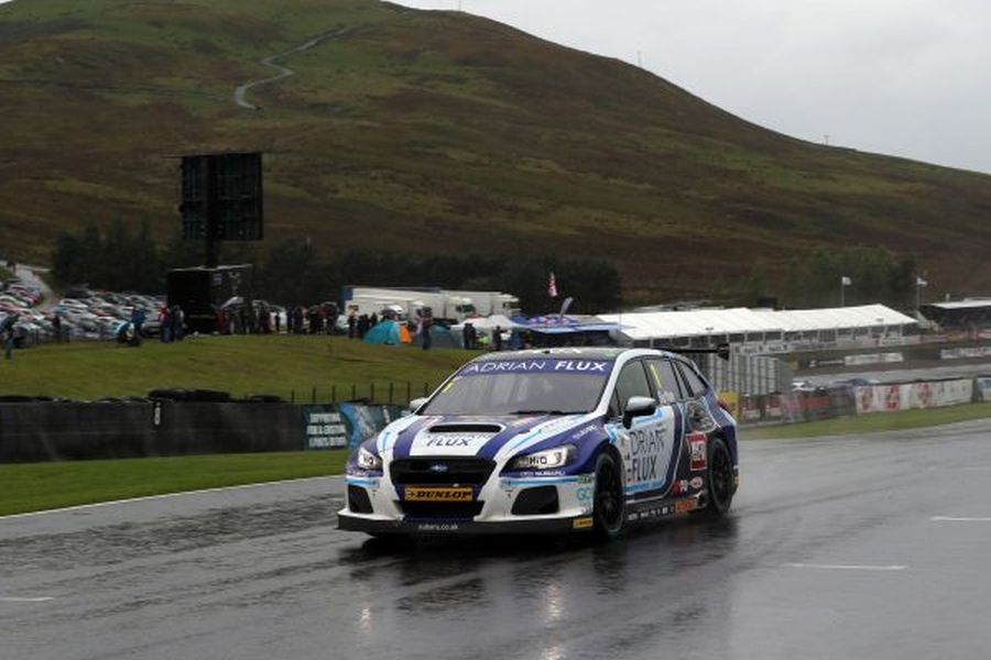 Ashley Sutton has won the first race at rainy Knockhill