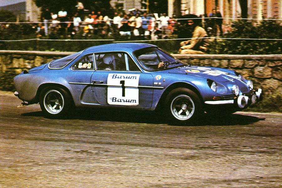 Vladimir Hubaček in the #1 Alpine-Renauilt A110 at 1973 Barum Rallye