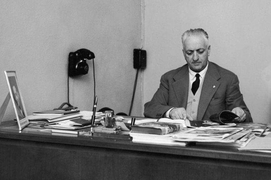 Enzo Ferrari in his office