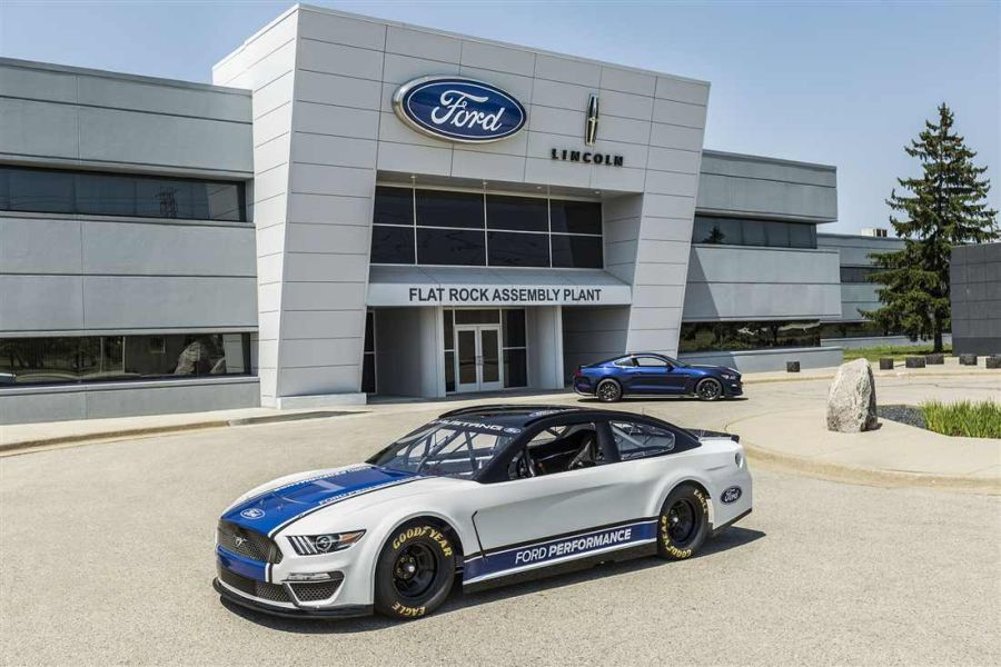 New Ford Mustang in front of Flat Rock assembly plant