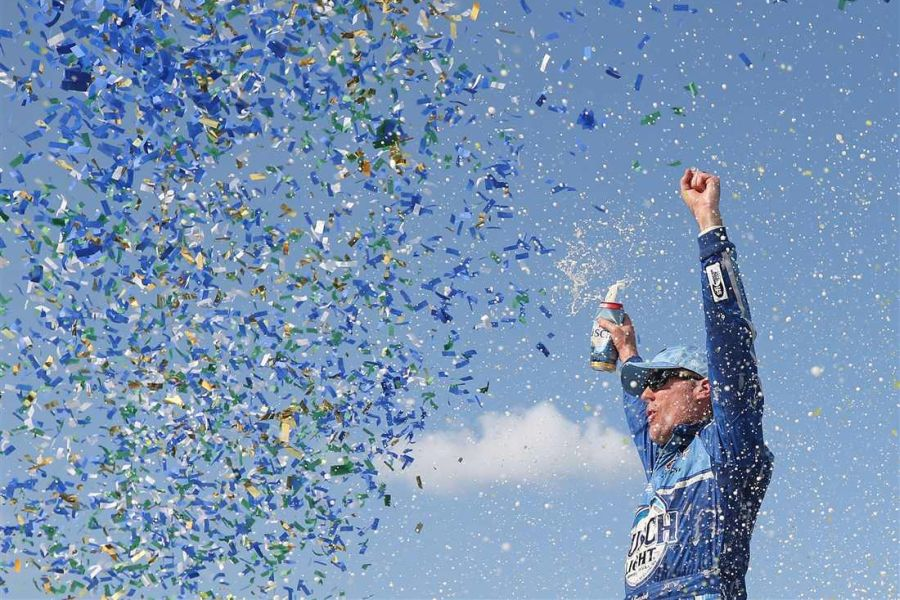 Kevin Harvick celebrates his 44th Cup Series victory