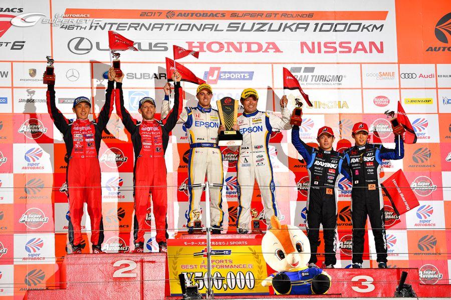 Podium of the last Suzuka 1000 in 2017