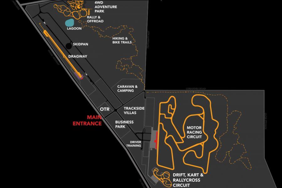 The Bend Motorsport Park map/track layout
