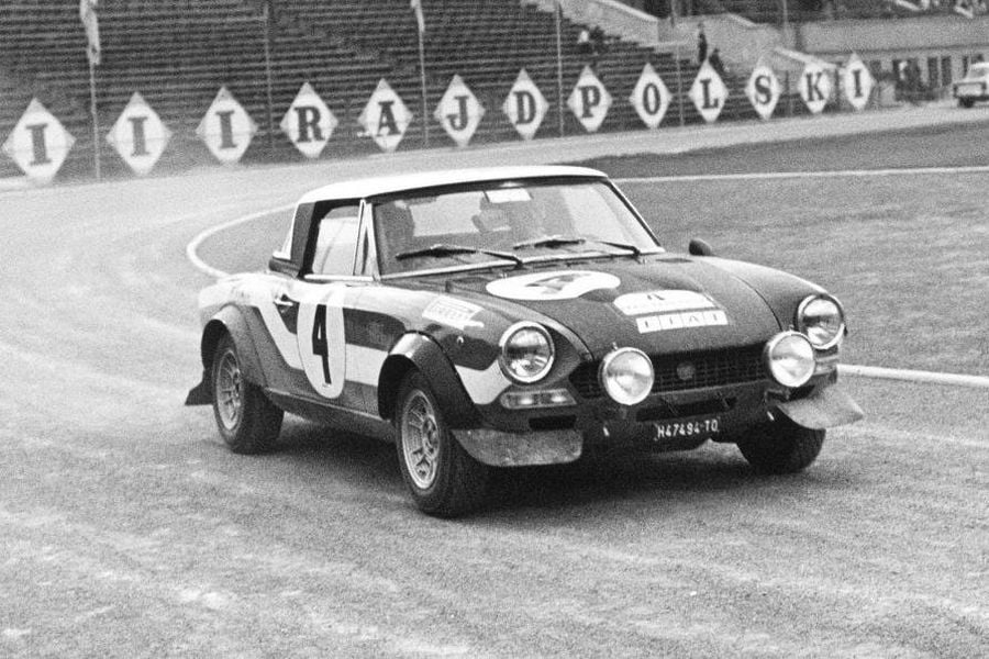 Achim Warmbold and Jean Todt won the 1973 Rally Poland in the #4 Fiat Abarth 124 Spider
