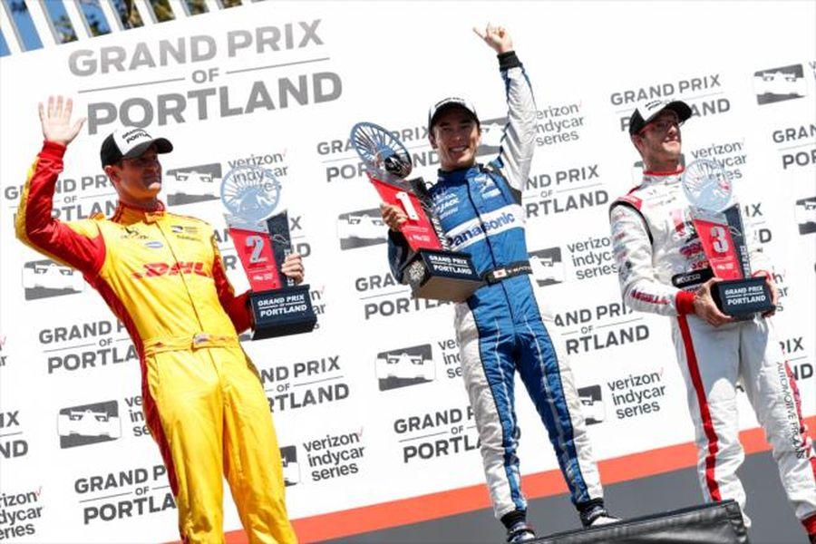 Takuma Sato wins at Portland