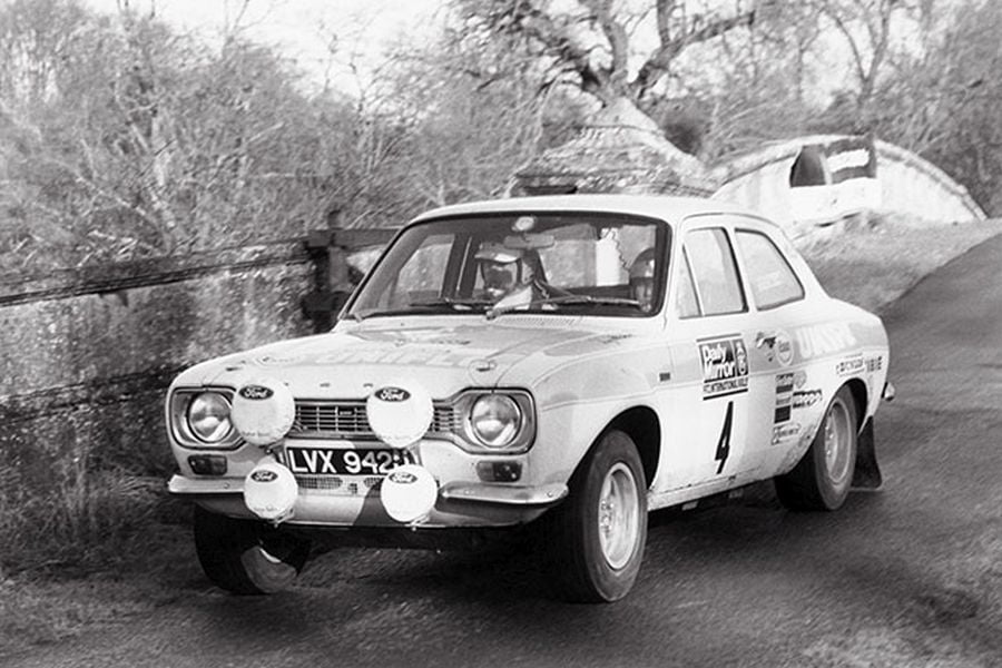 Roger Clark's #4 Ford Escort RS1600 MkI at 1972 RAC Rally