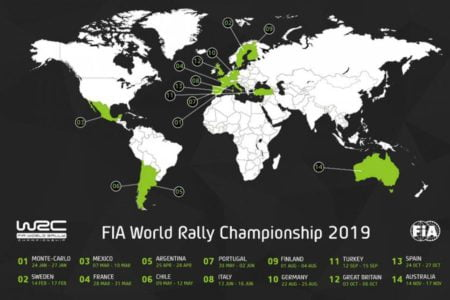 2019 World Rally Championship calendar