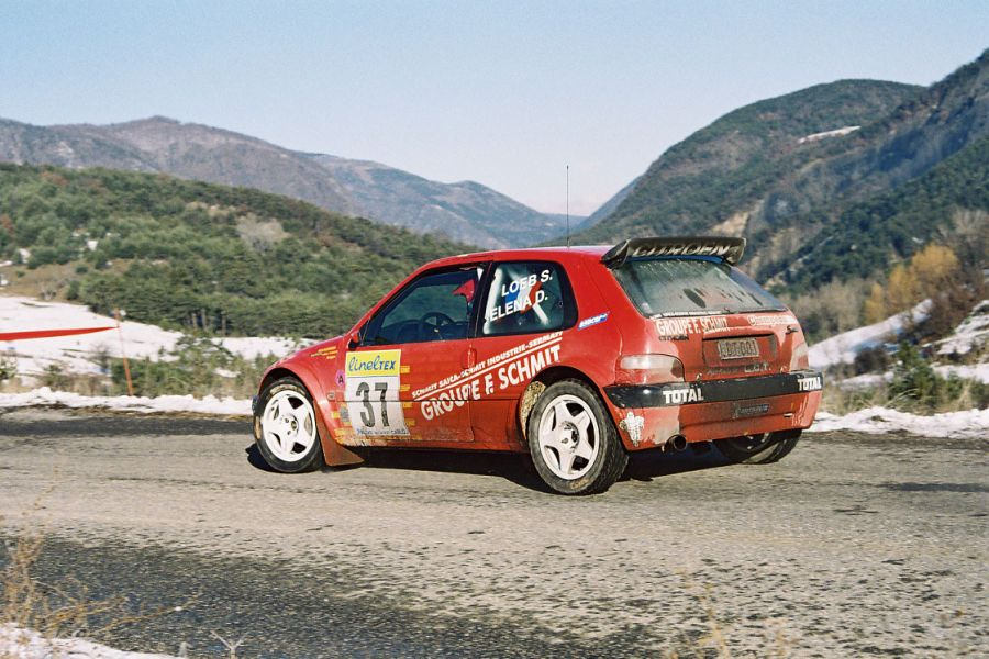 Seb Loeb and Daniel Elena at 2001 Rallye Monte-Carlo in a Citroen Saxo Kit Car