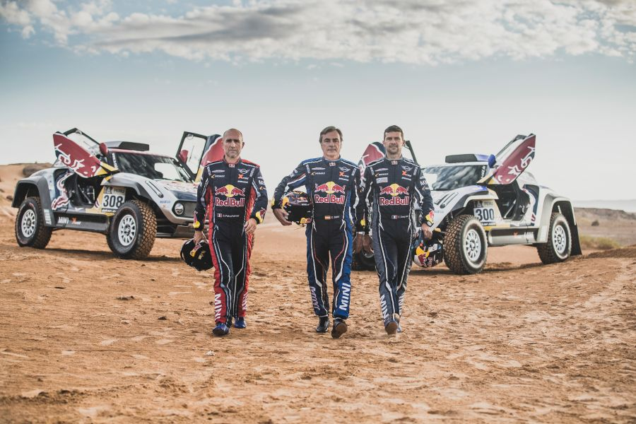 Stephane Peterhansel, Carlos Sainz and Cyril Despres in Erfoud , Morocco on September 24, 2018
