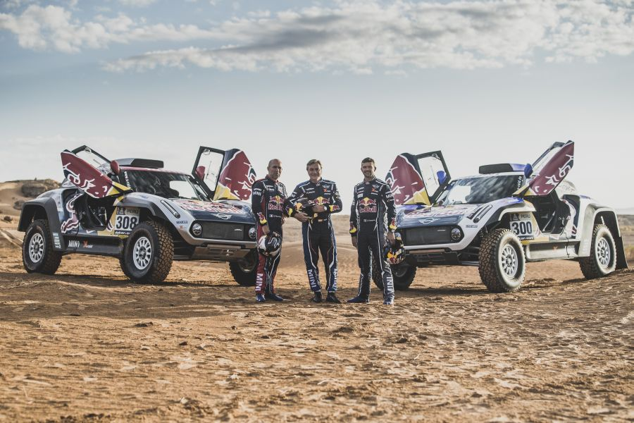 Stephane Peterhansel (FRA), Carlos Sainz (ESP) and Cyril Despres (FRA) in Erfoud , Morocco on September 24, 2018