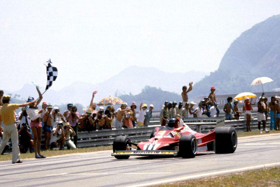 Carlos Reutemann at finish line of the 1978 Brazilian Grand Prix