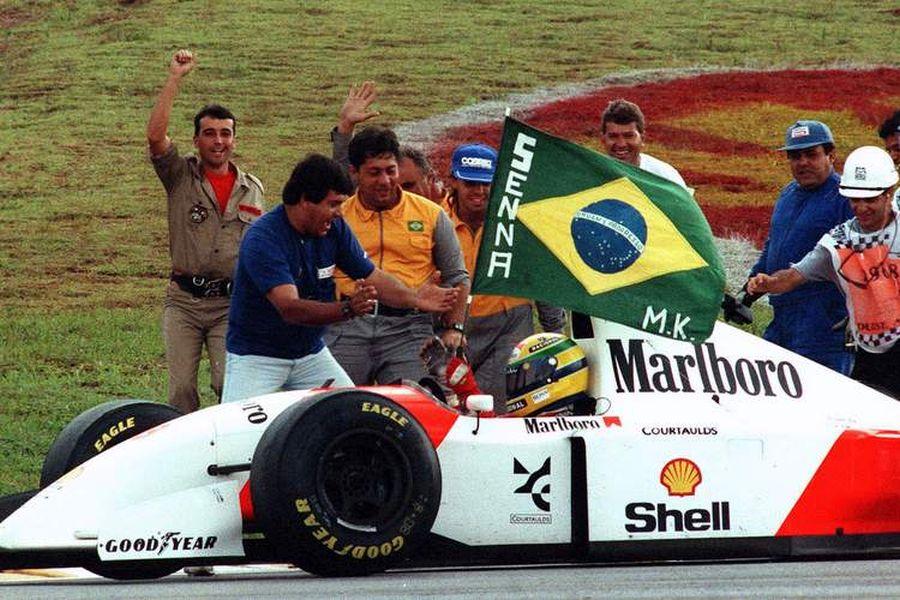 Ayrton Senna celebrated wins at Interlagos in 1991 and 1993