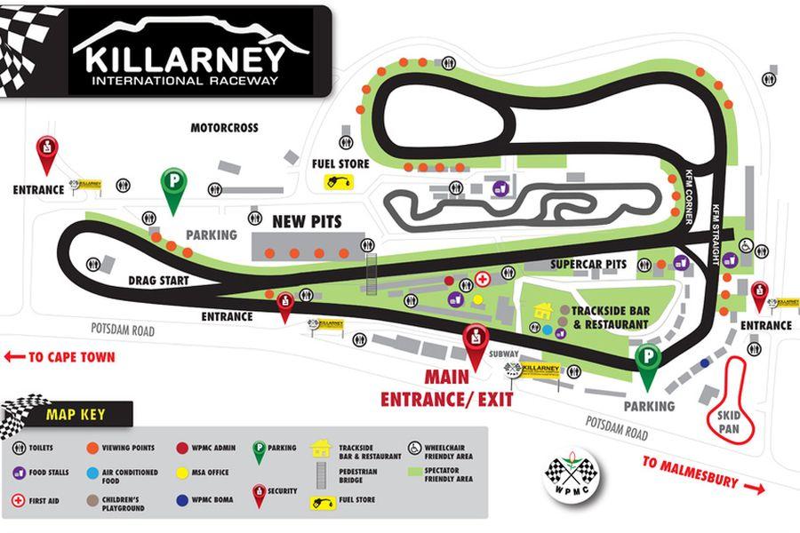 Killarney International Raceway, Killarney map/track layout