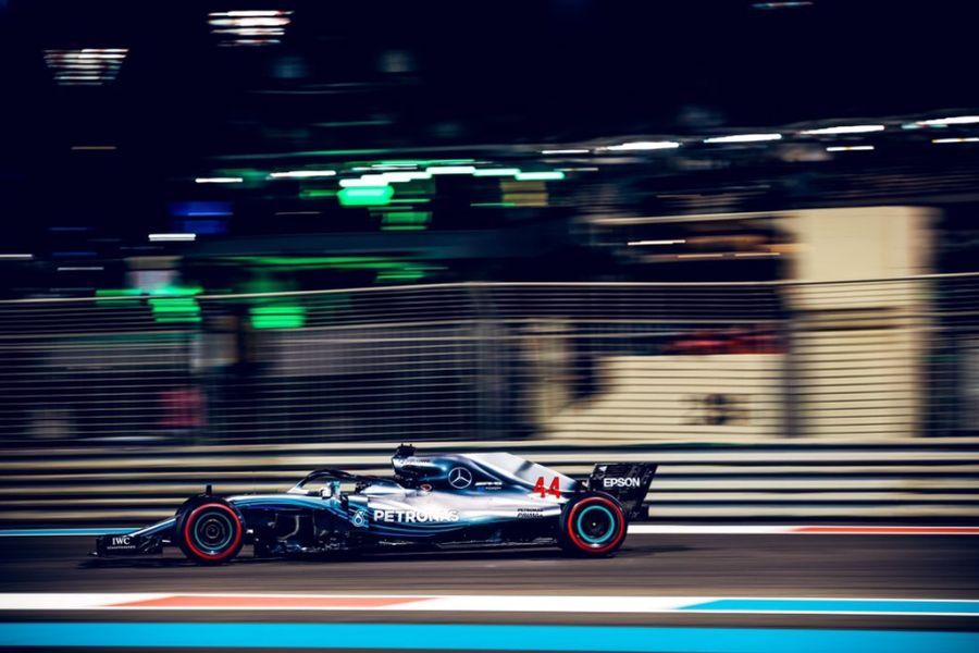 Lewis Hamilton's #44 Mercedes at Yas Marina Circuit