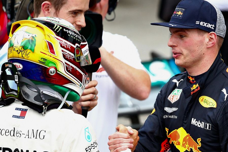 Lewis Hamilton and Max Verstappen, 2018 Brazilian Grand Prix