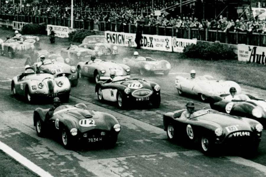 Goodwood Circuit race start, black and white, history