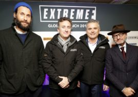 Extreme E global launch at London; David Mayer de Rothschild, Alejandro Agag; Gil de Ferran; Fisher Stevens