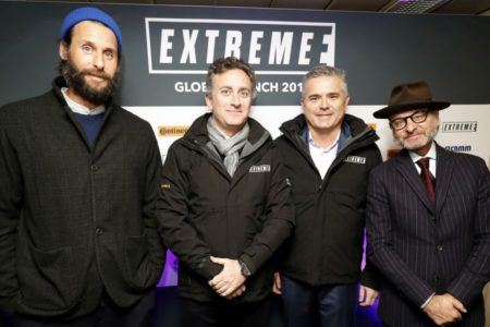 Extreme E global launch at London; David Mayer de Rothschild, Alejandro Agag; Gil de Ferran; Fisher Stevens