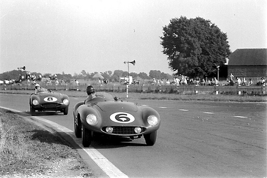 Aston Martin drivers racing at Goodwood 9 Hours, black and white