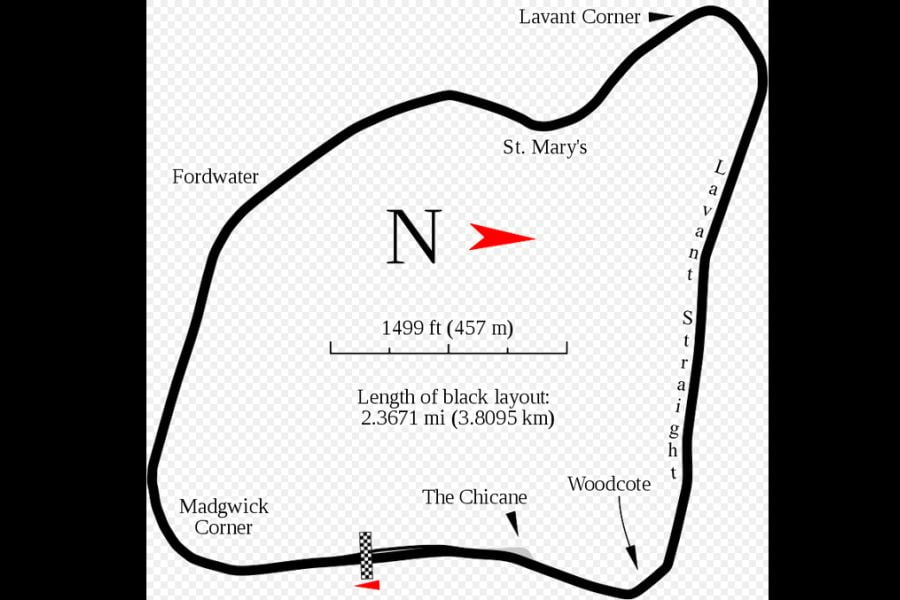 Map of the Goodwood Circuit