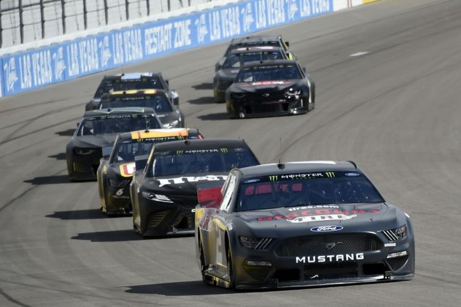NASCAR Cup Series cars during a test at Las vegas