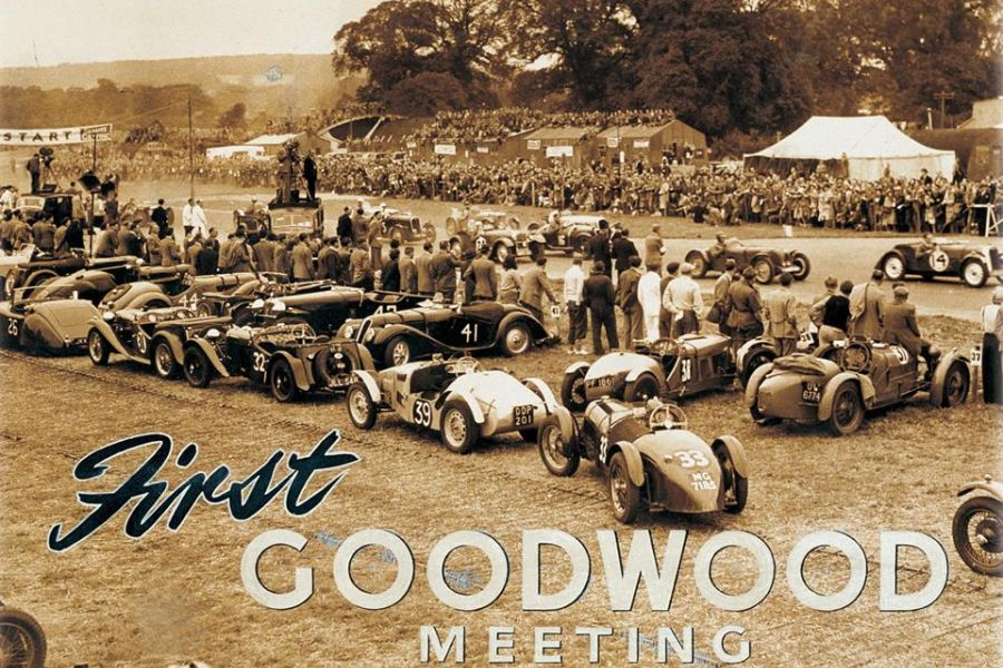 A picture from the first meeting at Goodwood Circuit in September 1948, sepia