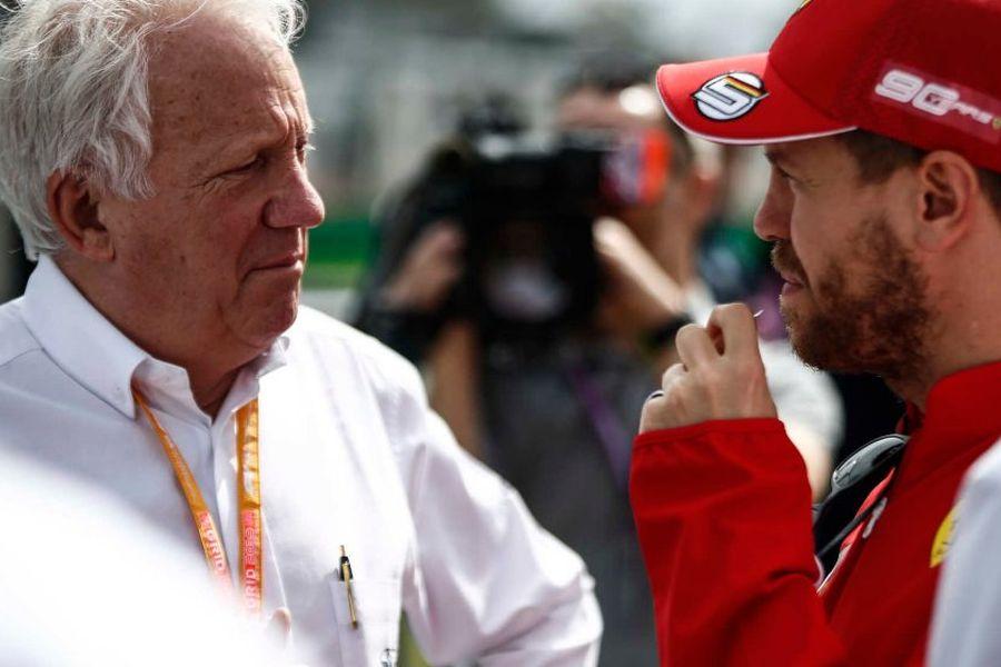 Charlie Whiting and Sebastian Vettel