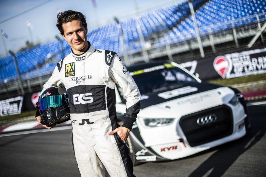 Krisztian Szabo next to EKS Sport's Audi S1