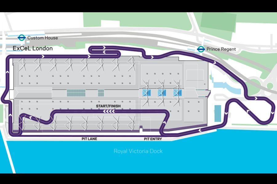Map of London ePrix race track