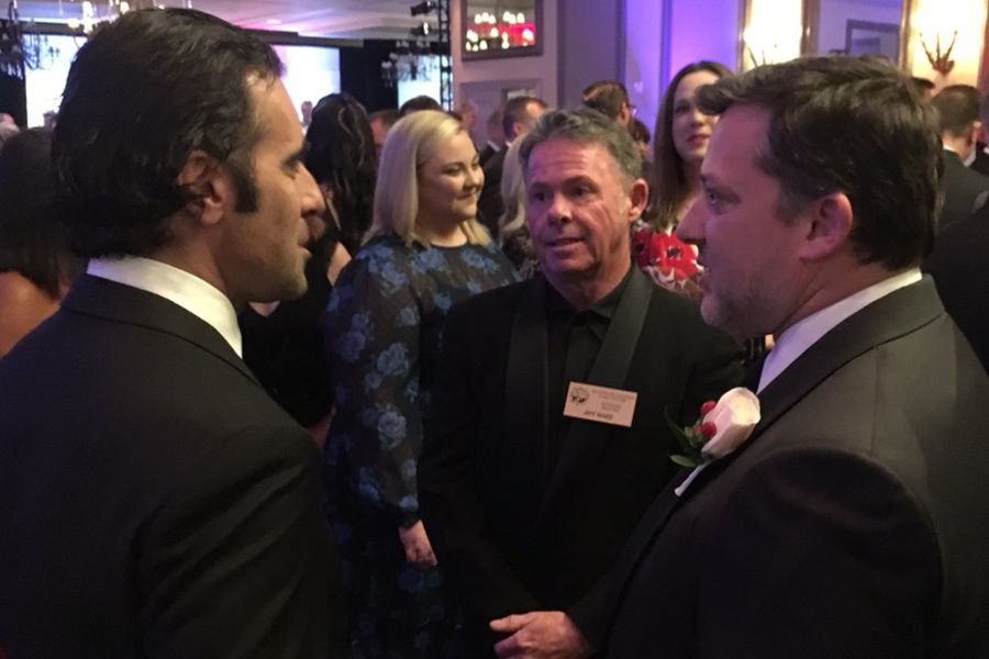 Dario Franchitti and Tony Stewart with Class of 2006 inductee Jeff Ward