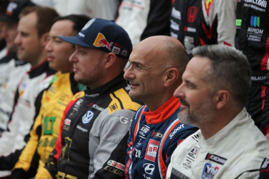 Three world touring car champions (from right to left): Yvan Muller, Gabriele Tarquini, Rob Huff