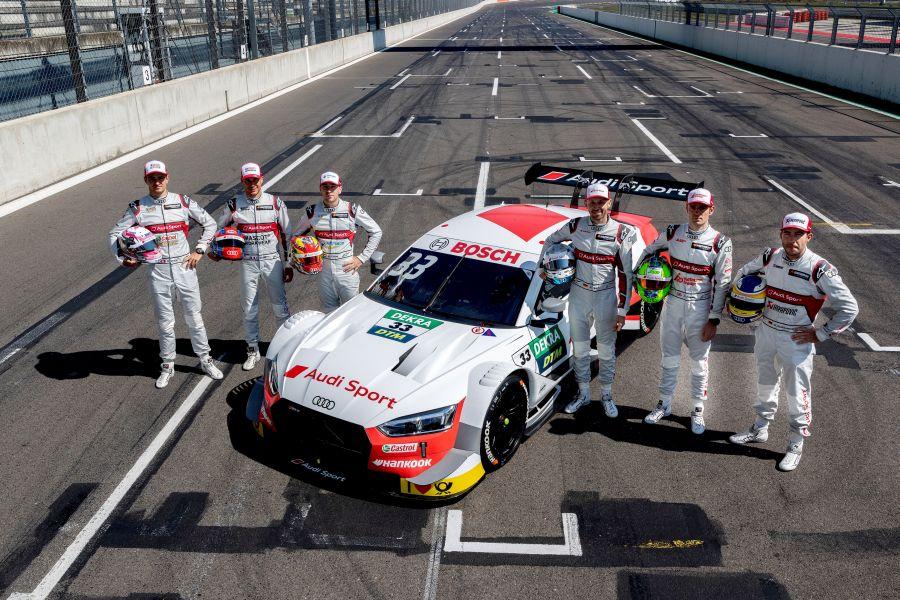 Audi DTM drivers Nico Müller, Loïc Duval, Robin Frijns, René Rast, Jamie Green and Mike Rockenfeller