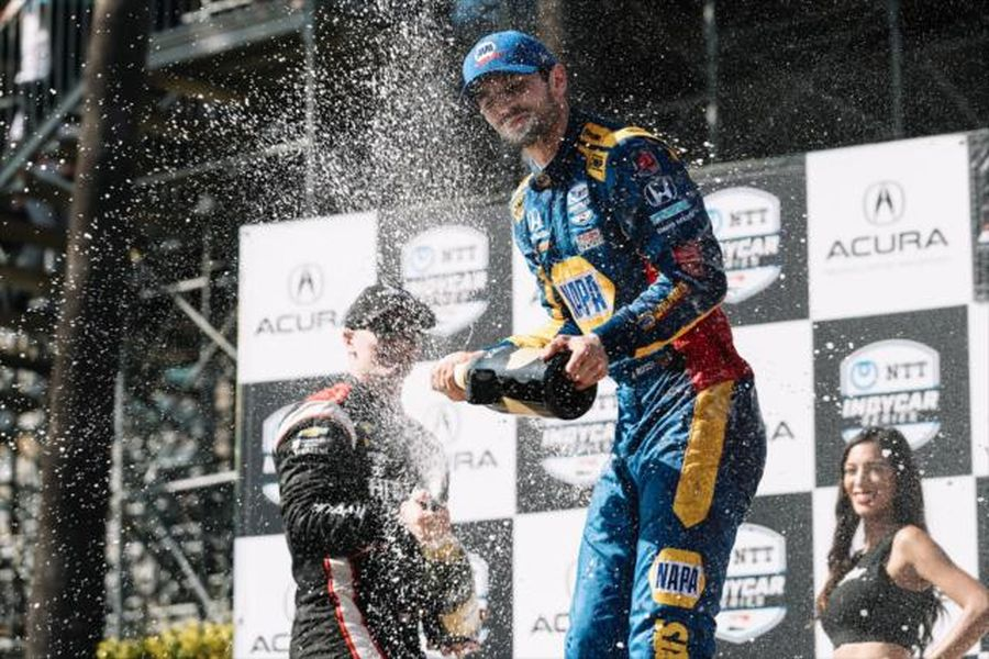 Alexander Rossi celebration at Long Beach
