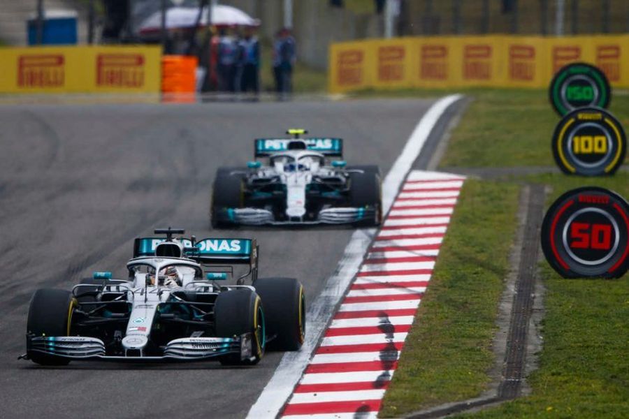 Lewis Hamilton and Valtter Bottas, Chinese Grand Prix, 1000th F1 race