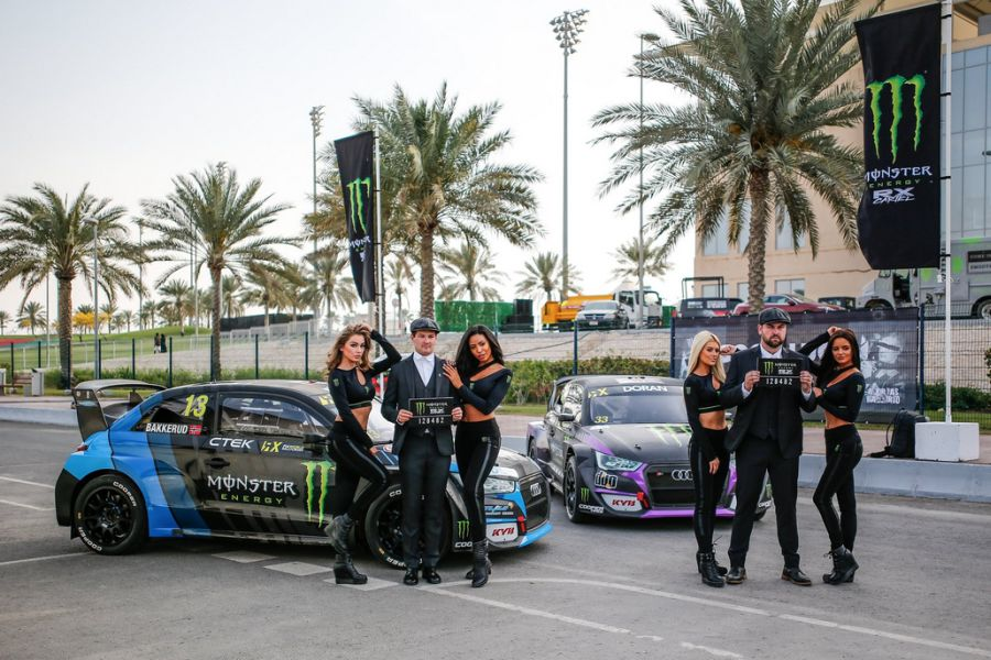Monster Energy girls with Monster Energy RX Cartel drivers Andreas Bakkerud and Liam Doran
