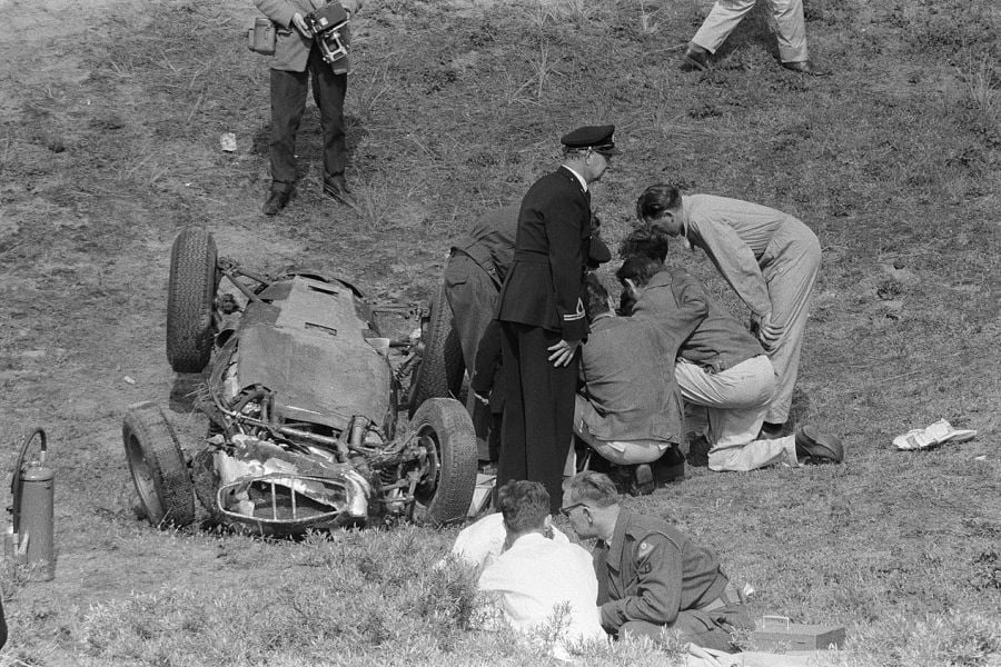 Dan Gurney's accident at Zandvoort in 1960