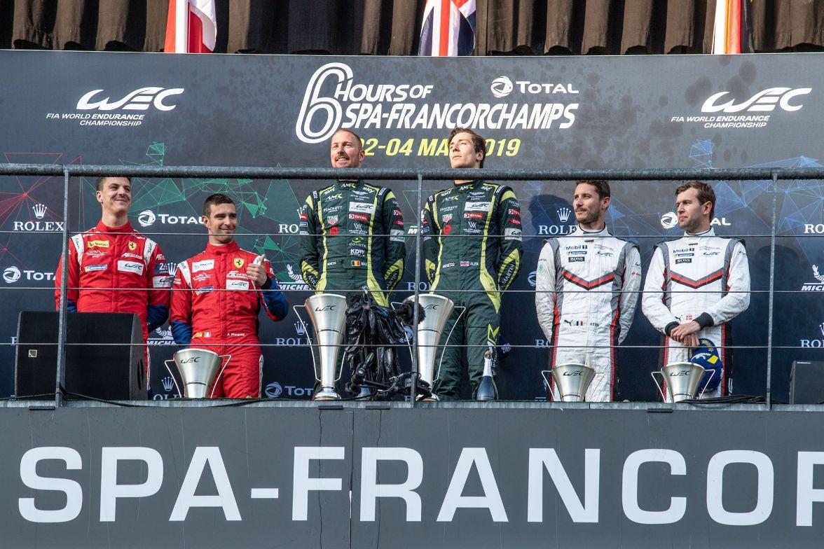 GTE Pro class podium at Spa