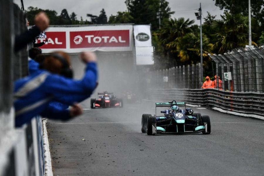 Billy Monger at the finish line of Pau Grand Prix
