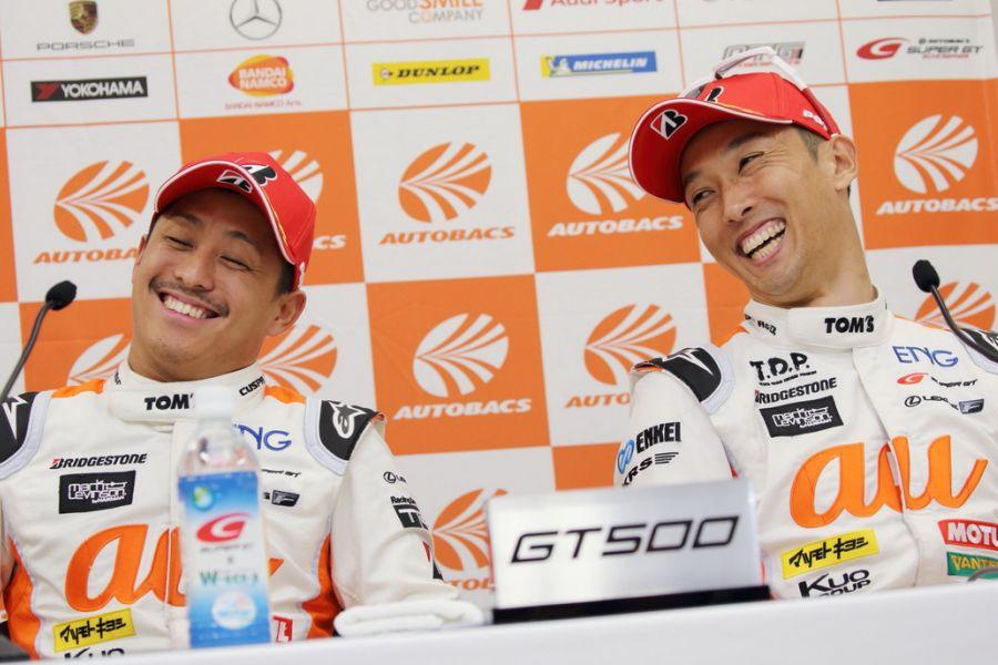 Race winners Yuhi Sekiguchi and Kazuki Nakajima