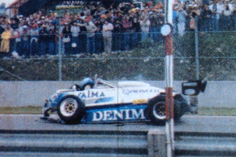 Riccardo Paletti's car after a crash at 1982 Canadian Grand Prix