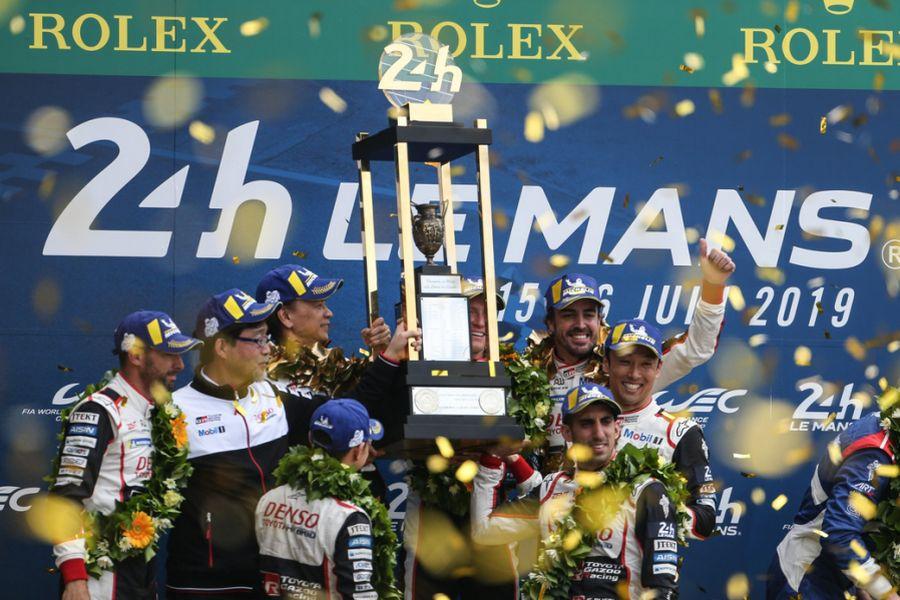 2019 Le Mans 24h winners Buemi, Nakajima, Alonso Toyota