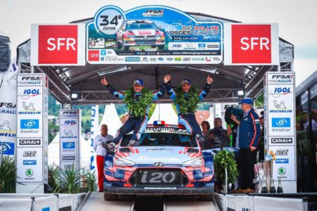Daniel Elena and Seb Loeb are celebrating victory at Rallye Vosges