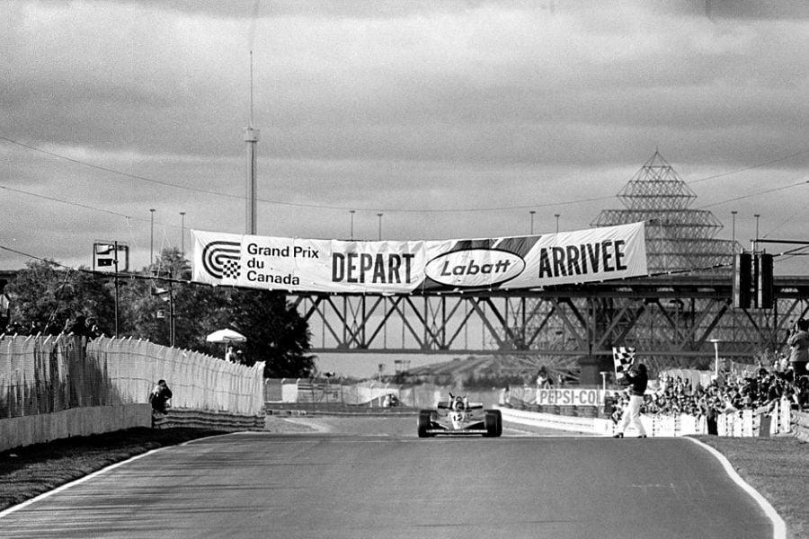 Gilles Villeneuve celebrates victory at 1978 Canadian Grand Prix