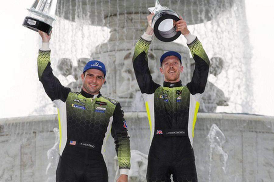 IMSA GTD class winners at Detroit Richard Heistand and Jack Hawksworth