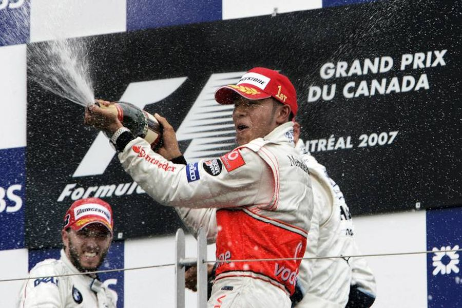 Lewis Hamilton celebrates his first ever F1 victory at 2007 Canadian Grand Prix